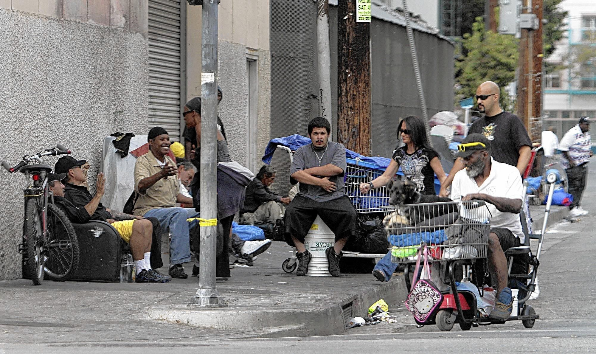 Homeless Homeless People With Their Belongings Along Streets In L A S Skid Row