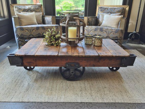 Early 1900 S Reclaimed Factory Cart Coffee Table In 2019 Products