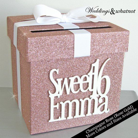 Rose Gold Sweet 16 Glittered Card Box- Choose Your Colors and Size-No Glittery Mess!