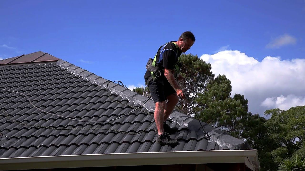 Concrete Roof Painting Roof Tiles Part 4 In 2020 Roof Paint Roof Restoration Roof Cleaning