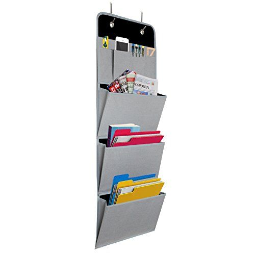 Charmant Onway Office File Folders Racks Over The Door Mail Organizer Wall Hanging  Mount Pocket Storage For Magazine, Notebooks, Planners, 4 Pockets Grey
