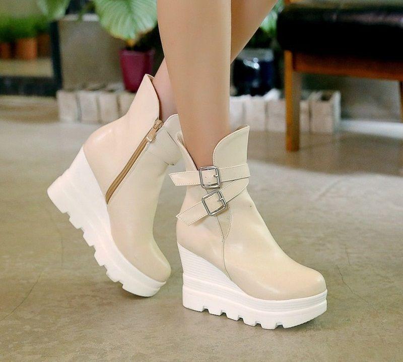 Dolgu Topuklu Bot Modelleri Sapatos Pretos Sapatos Femininos Sapatos