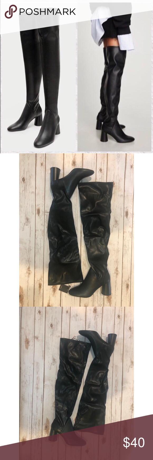 0eea0f6ba76 Zara over the knee boot 👢 Black high heel boots with cylindrical heels and  stretch legs. Heel height 7.5 cm.   2.9″ Zara Shoes Over the Knee Boots