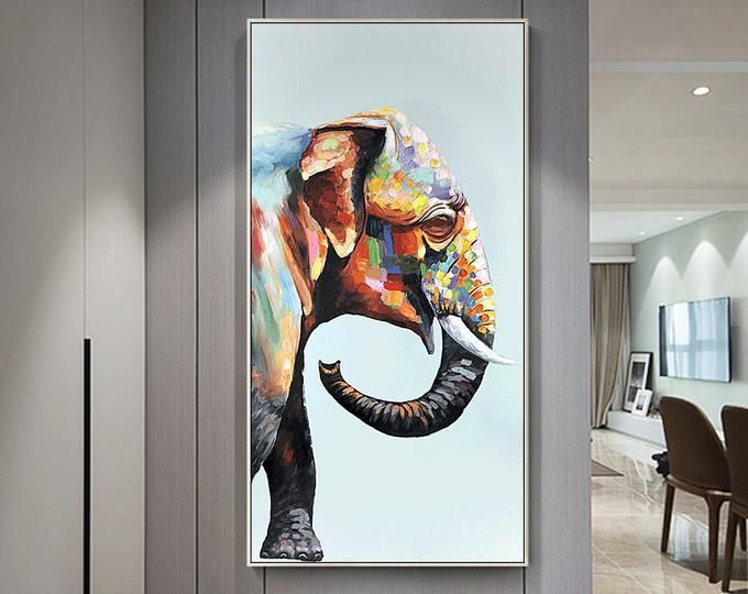 Animal Original Elephant acrylic Paintings On Canvas heavy textured Extra Large nursery decor Wall pictures Home Decor palette knife painted#acrylic #animal #canvas #decor #elephant #extra #heavy #home #knife #large #nursery #original #painted #paintings #palette #pictures #textured #wall