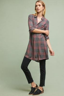 59f211993d7 Anthropologie Cloth   Stone Cozy Plaid Tunic Dress