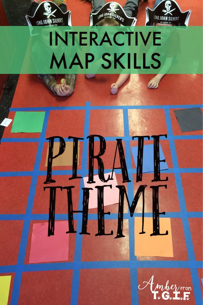 Map Skills   Grid Maps  Latitude Longitude  and MORE   Map skills     Let your students use these hands on  move around the room activities to  practice their Pirate map skills