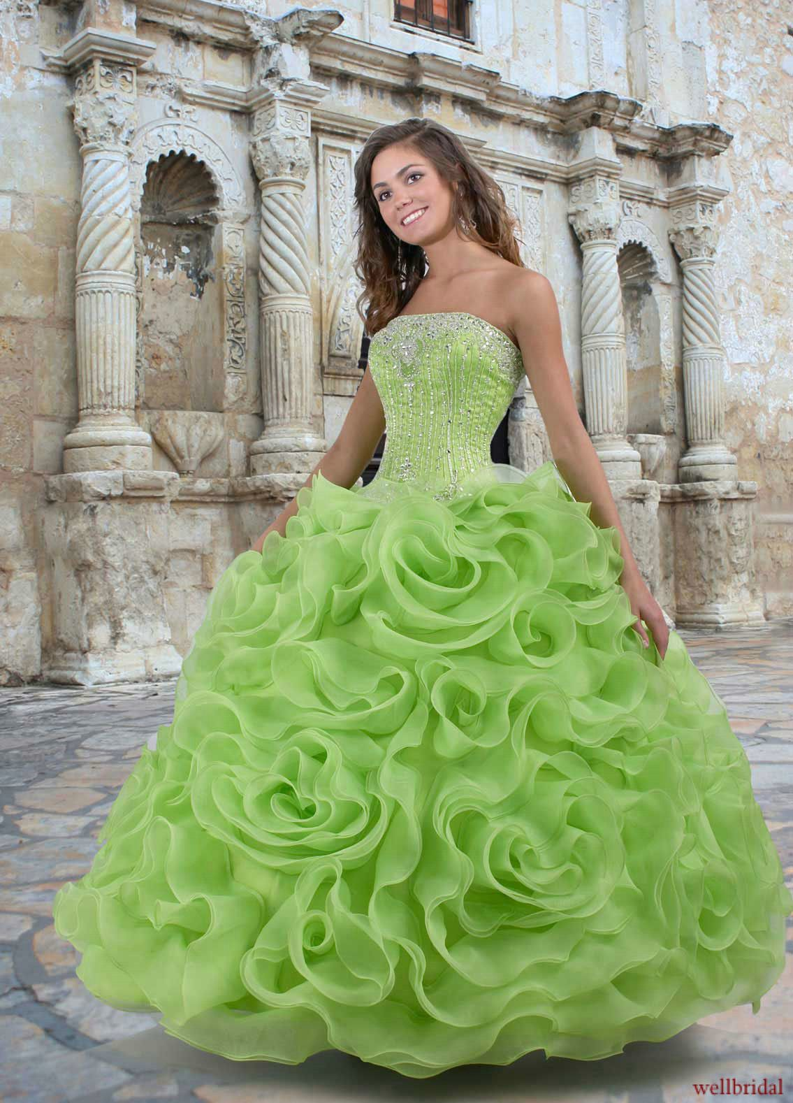Wedding Green Wedding Dresses green wedding dress jeweled top with full skirt love it it
