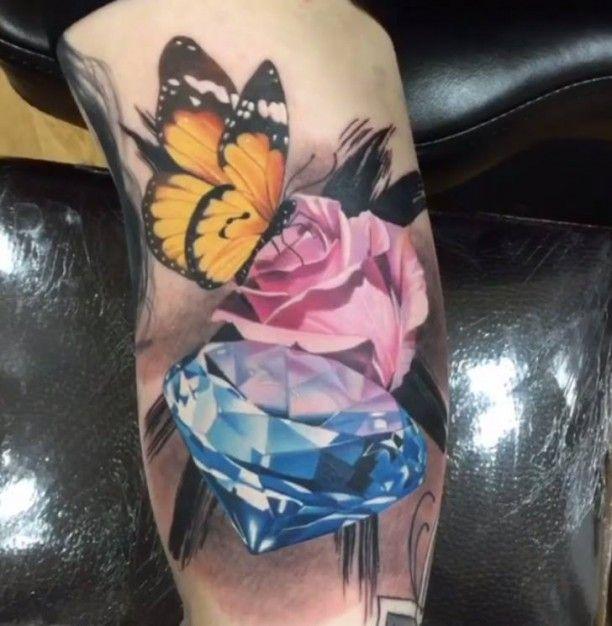t towierung schmetterling diamant rose tattoos tattoo. Black Bedroom Furniture Sets. Home Design Ideas