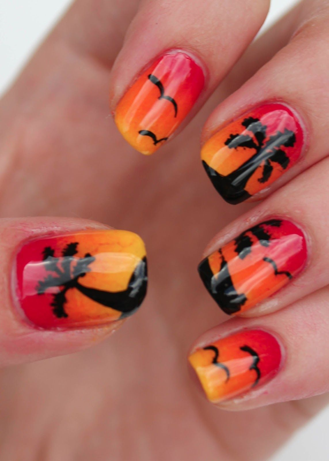 Sunset Nail Art With Palm Trees Birds And Boat Nails Xii