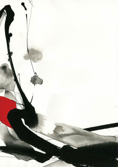 Japanese Ink Art Black Red Inkart Aquarelle Abstraite