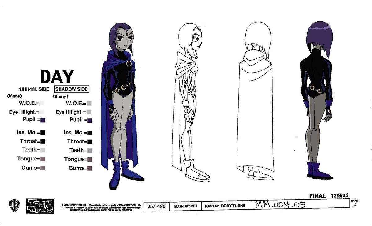 Comic Book Character Design Sheet : Teen titans raven character sheet go