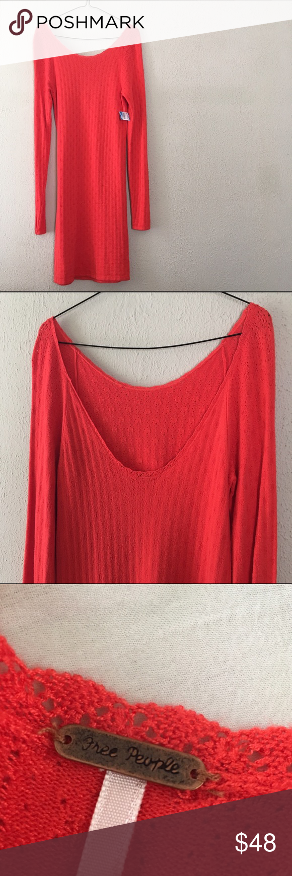 Free People Cherry Red Sweater Dress Amazingly comfortable Knit ...