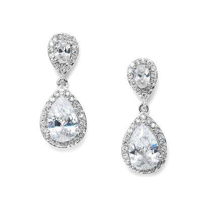 Mariell CZ Cubic Zirconia Teardrop Wedding Earrings