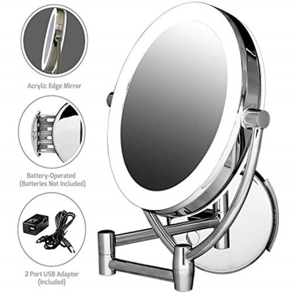 Ovente Wall Mount Lighted Makeup Mirror 1x 10x Magnification 9 5 In Polished Chrome Mlw45ch Wall Mounted Lighted Makeup Mirror Makeup Mirror With Lights