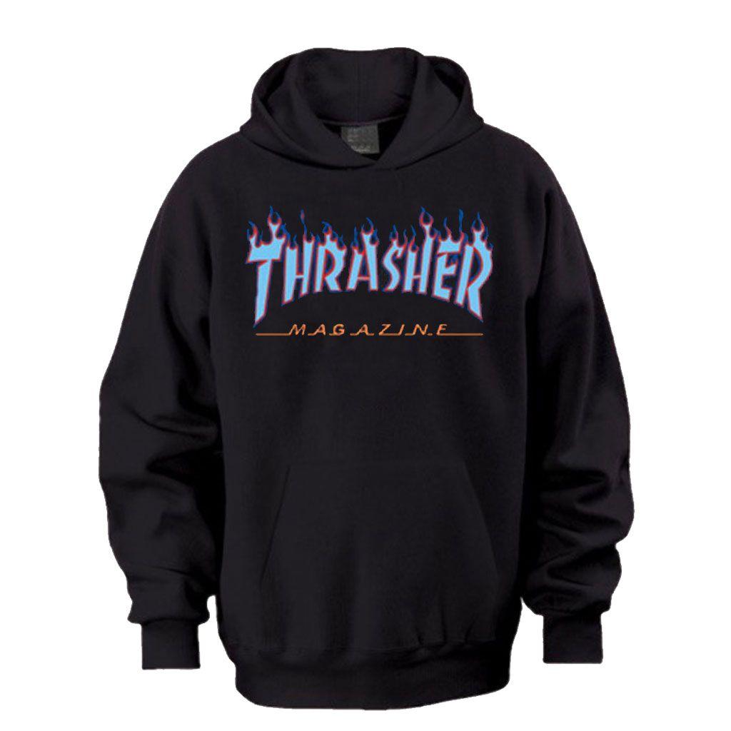 Thrasher Purple Blue Flame Hoodie Hoodies Blue And Purple Blue Flames [ 1024 x 1024 Pixel ]