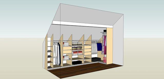 Inspiration mobilier id e de dressing sous combles projet robert - Dressing sous combles ...