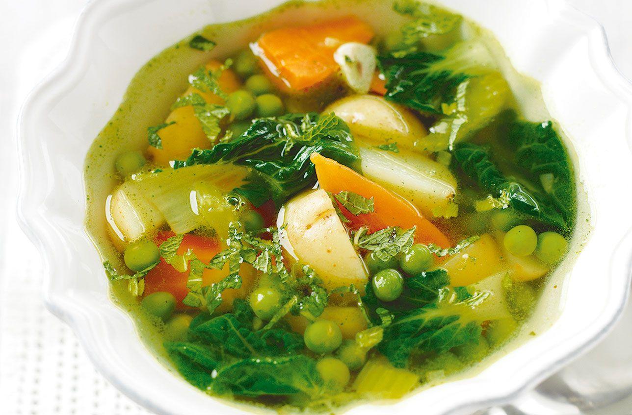 Homemade Spring Vegetable Soup Recipe In 2020 Spring Vegetable