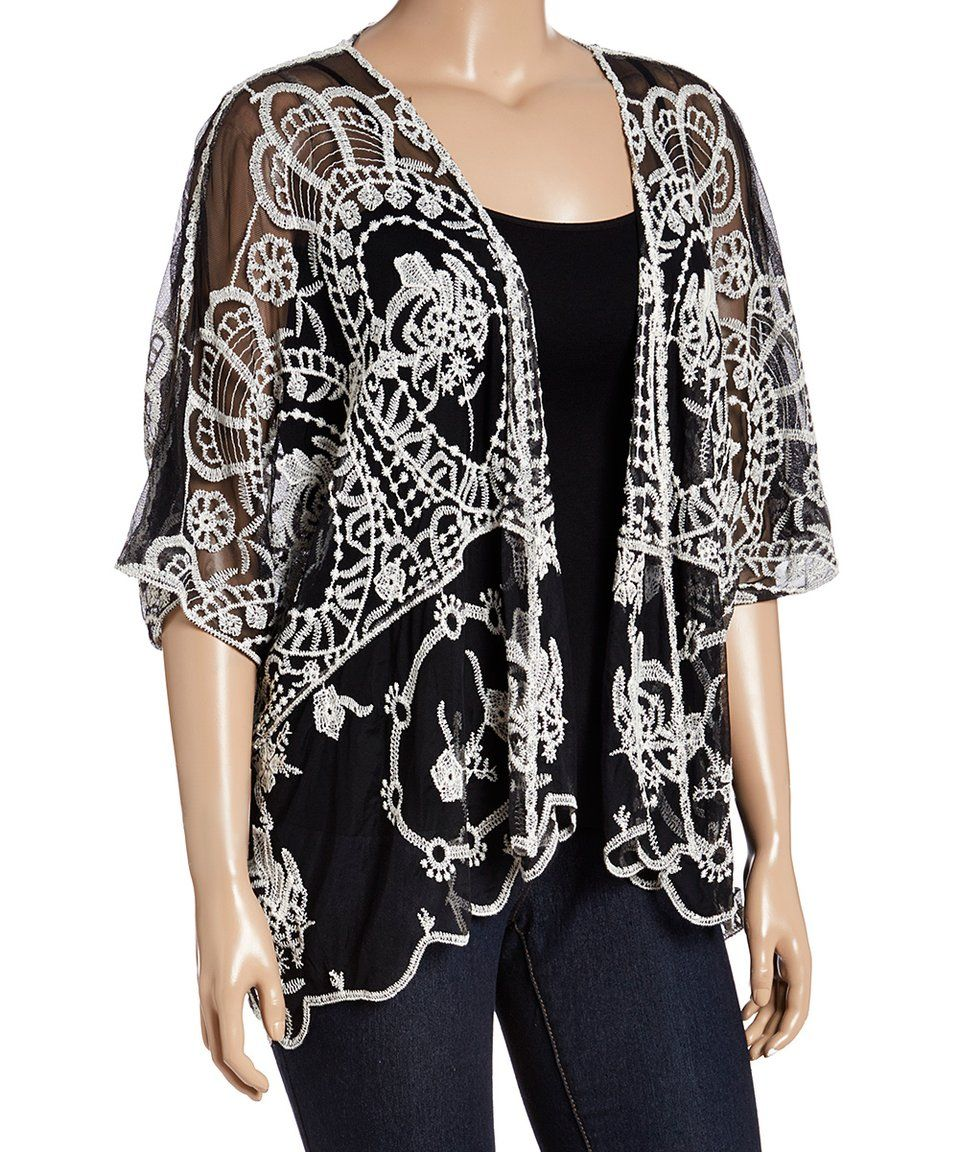 Take a look at this Black & White Lace Open Cardigan - Plus today ...