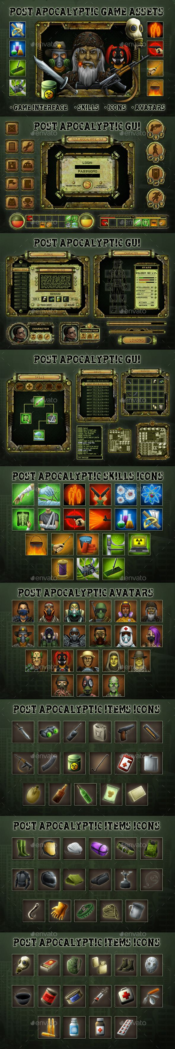 Post Apocalyptic Game Assets | Fonts-logos-icons | Game
