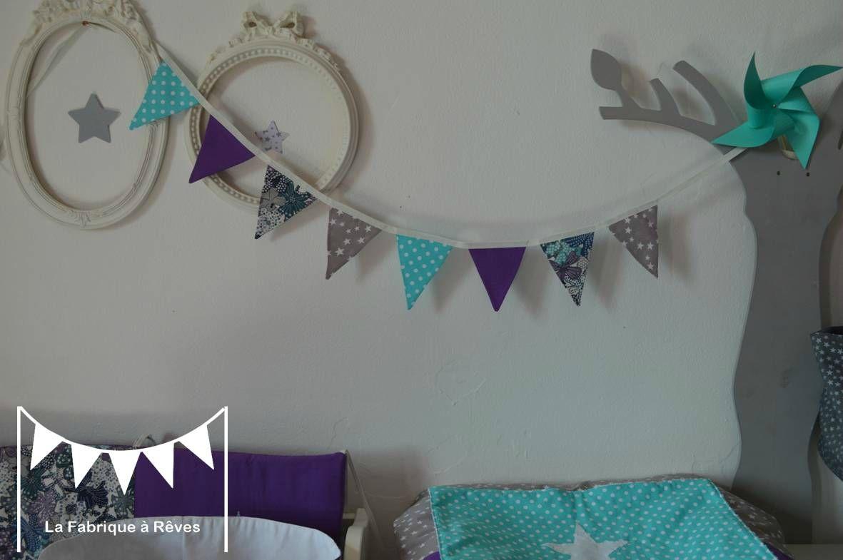 guirlande fanions tissus étoiles turquoise gris violet liberty ...