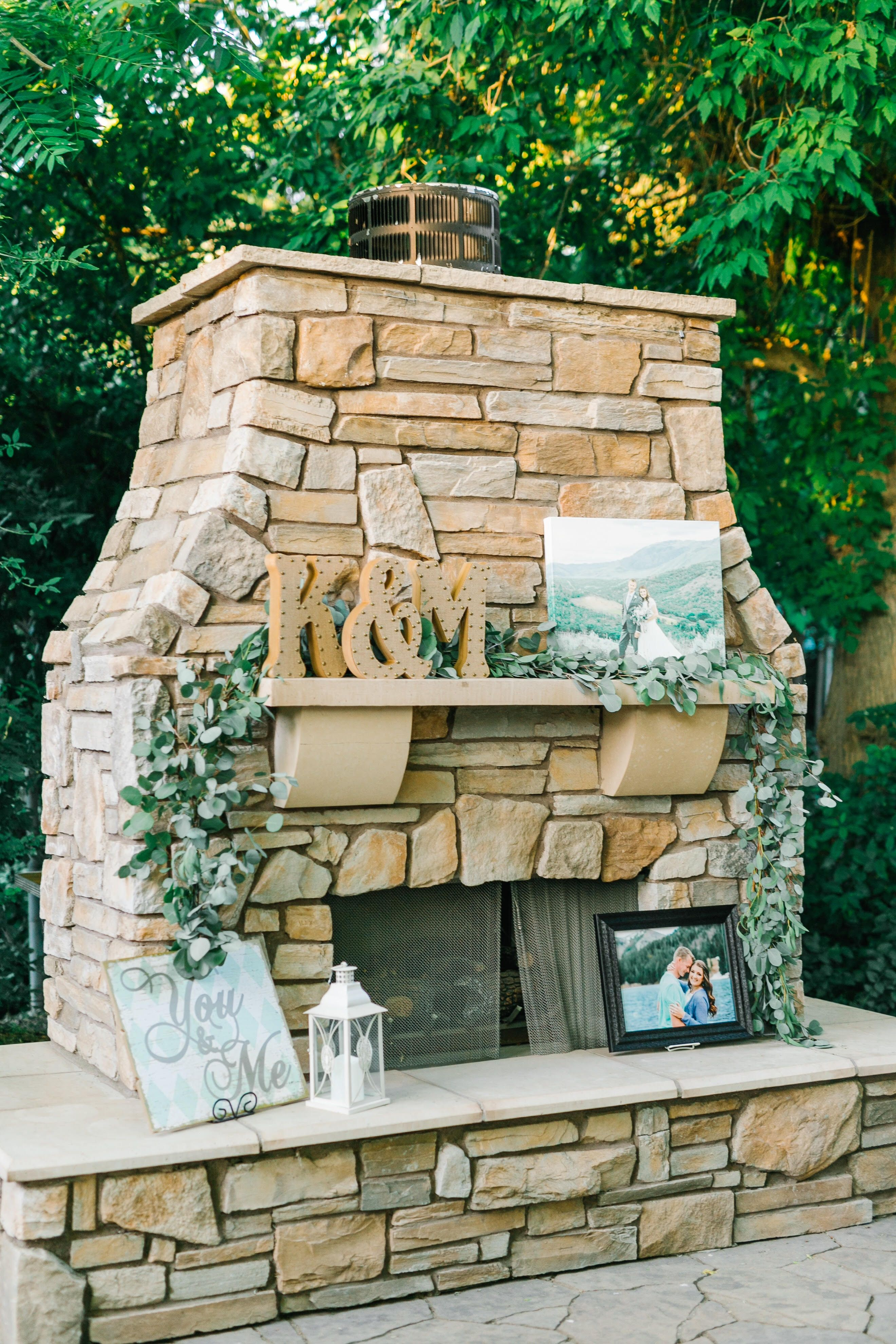 Perfect cozy fireplace for an outdoor wedding eucalyptus