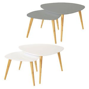 Bentley Home Nest Of 2 Retro Nesting Coffee Tables White Or Grey Available