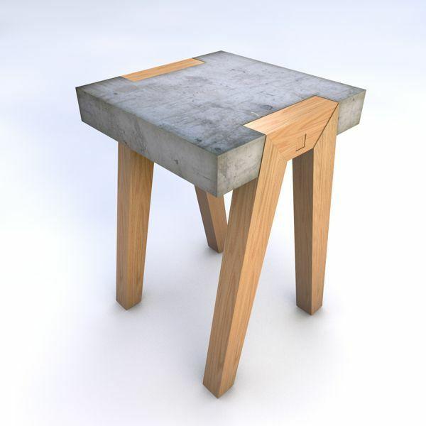 Hocker Aus Beton Mit Holzbeinen