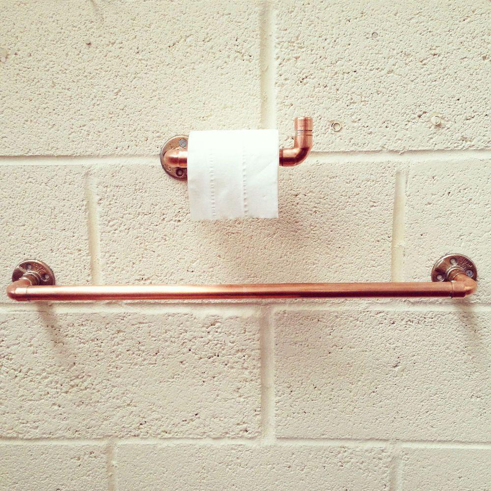 Bathroom towel rail sets - Copper Pipe Towel Rail Toilet Holder Bathroom Set
