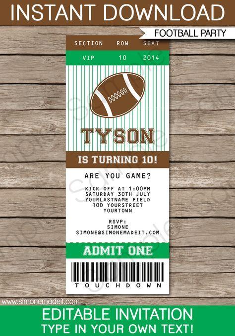 Football Ticket Invitation Template Football ticket, Ticket - free ticket invitation template