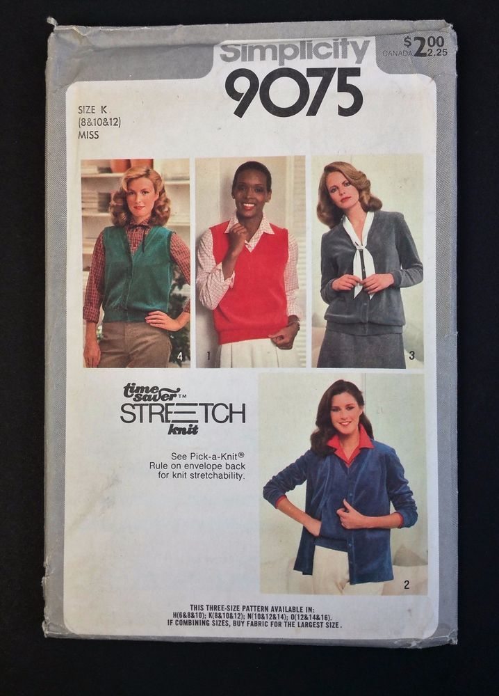 Vintage Simplicity Stretch Knit Pattern 9075 Talle 8 12 Cardigan