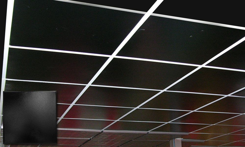 attractive Black Drop Ceiling Grid Part - 4: These ceiling tiles are actually made out of tin. Can come in black or  white. Used with a suspended ceiling grid system. This would give us  complete access ...