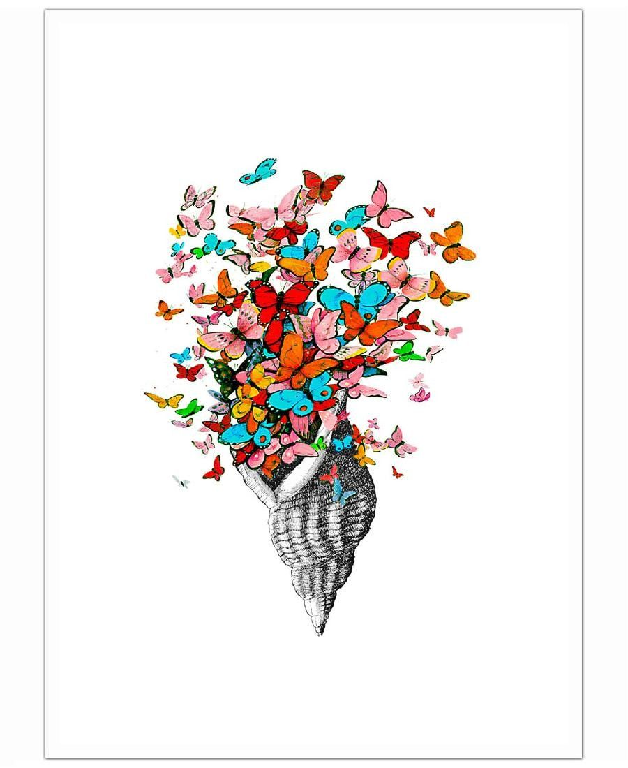 Seashell with butterflies Art Print by Rococco LA now on Juniqe.com | Art. Everywhere.