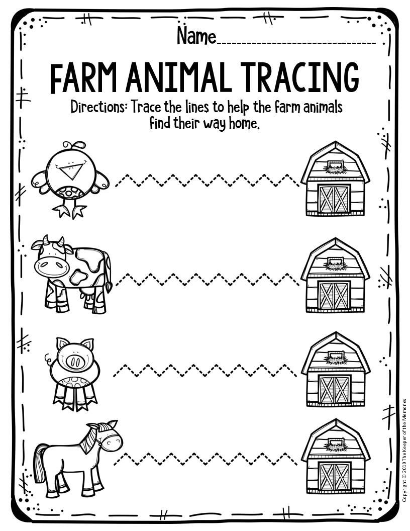 Free Printable Worksheets For Preschool Kindergarten Farm