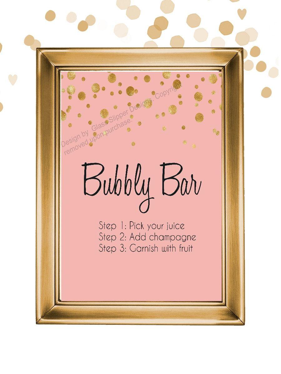 Set of 5 printable blush black and gold champagne bridal for Champagne brunch bridal shower