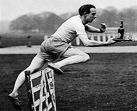 Knowing he faced many hurdles in his job as head waiter at the Country Club Leon practiced daily to increase his speed and agility -  Karen Osburn http://www.globalmuseum.org #captioncontest #museums #humor #humour #globalmuseum
