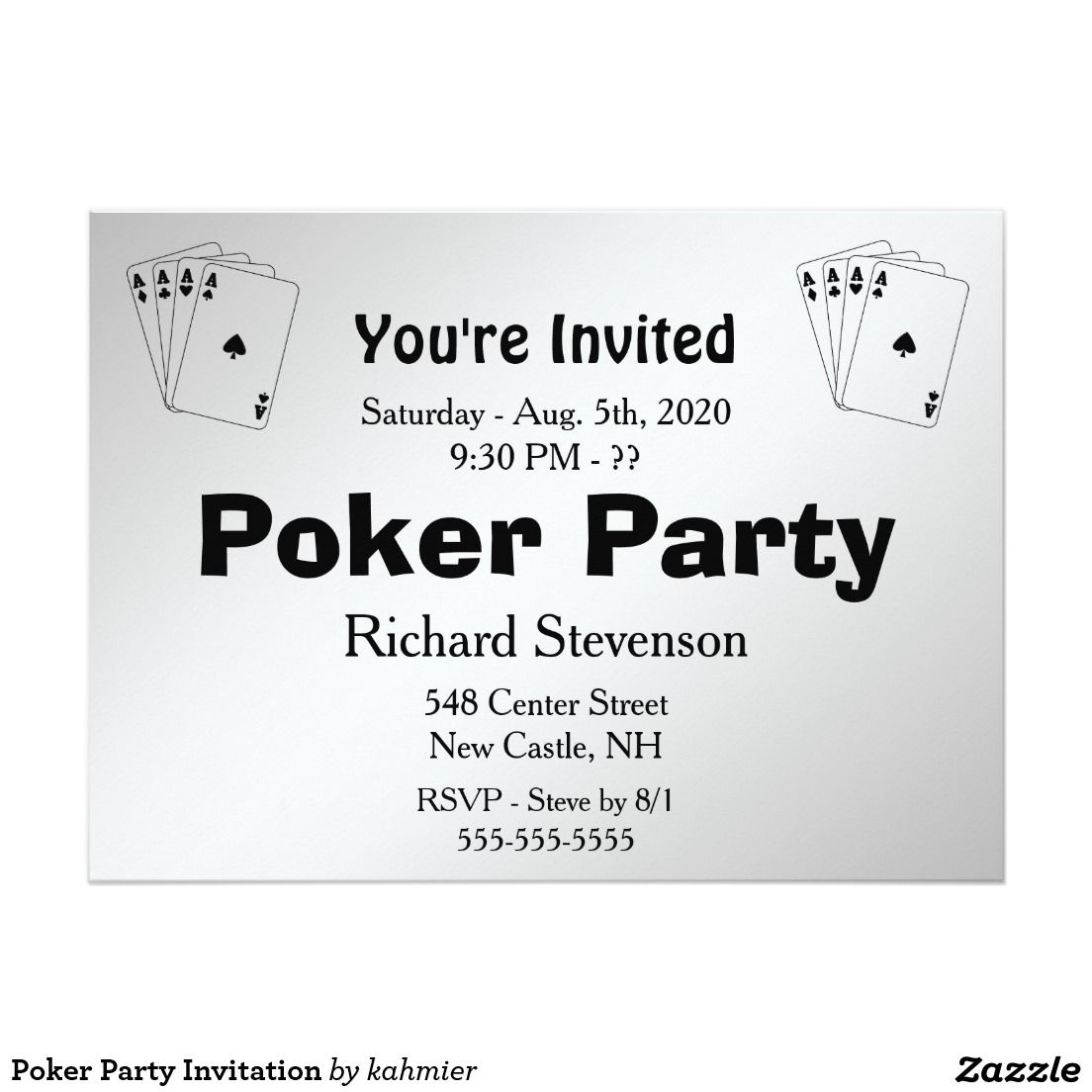 Poker Party Invitation | Stuff SOLD on Zazzle | Pinterest | Poker ...