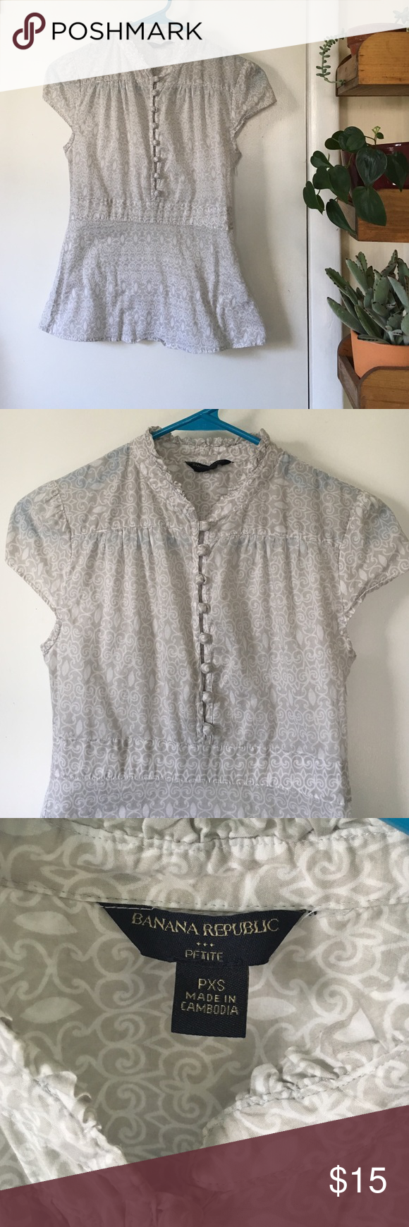 Banana Republic Cap Sleeve Blouse Petite size extra small! Like new! Cute cap sleeve/babydoll style shirt with buttons in front and ruffled collar. Zips on side for a fitted look. Perfect paired with jeans and wedges. Thin and a little see thru but that's why we have a collection of bralettes right?! Banana Republic Tops Blouses