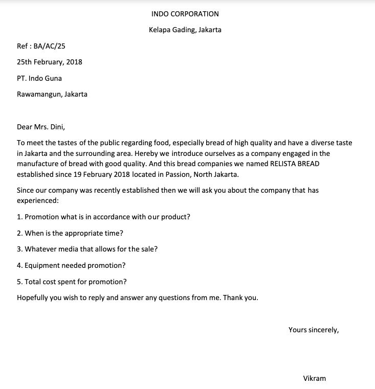 Surat Permintaan Penawaran Bahasa Inggris Bahasa Bahasa Inggris Surat