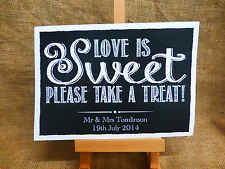 VINTAGE chalkboard style LOVE IS SWEET CANDY BAR CART BUFFET SIGN WEDDING A4 A3[A3]