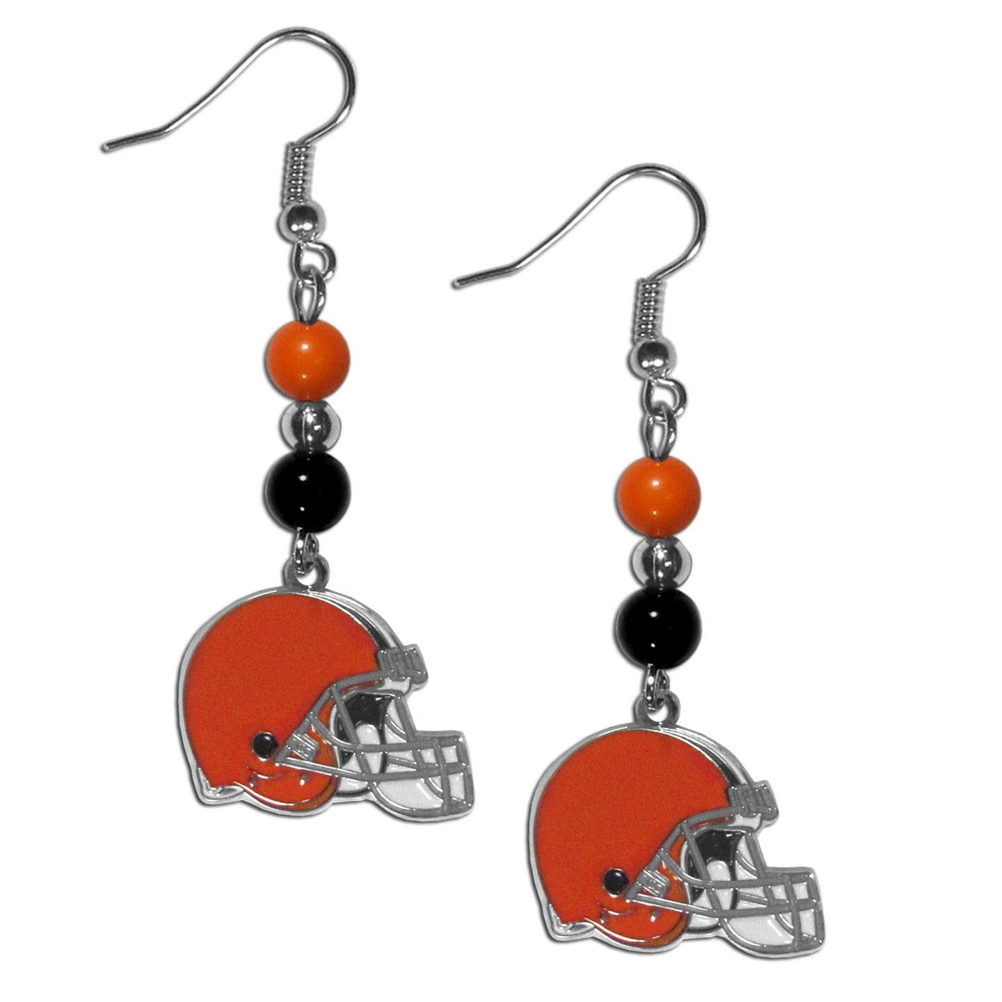 54807b91 Cleveland Browns Fan Bead Dangle Earrings | Products | Brown ...