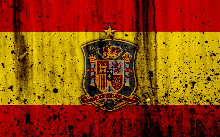 Download wallpapers Spain national football team, 4k, logo, grunge, Europe, football, stone texture, soccer, Spain, European national teams