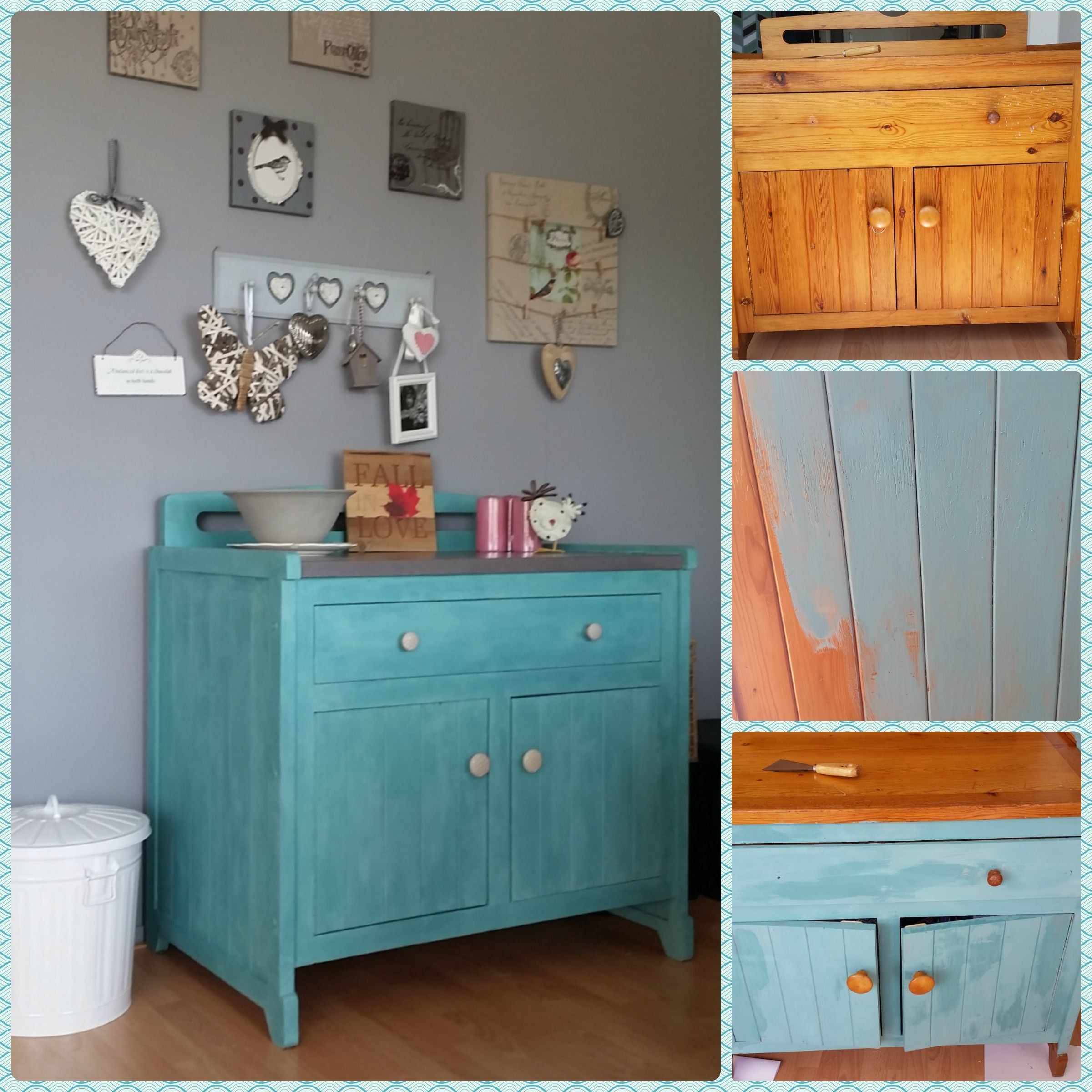 Old dresser repainted with Annie Sloan Provence with clear wax, top is Coco, Graphite and a clear varnish