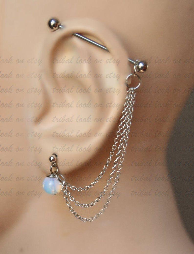 Industrial Barbell, Industrial piercing, Ear gauges, Jewelry, Industrial bar earring, Industrial piercing, Opalite or Amethyst (m9 ch F)