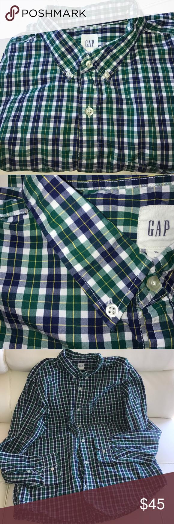 GAP MEN'S GREEN PLAID BUTTON DOWN DRESS SHIRT GAP MEN'S GREEN PLAID BUTTON DOWN DRESS SHIRT . SIZE : XL ( XTRA LARGE) - LIKE NEW CONDITION. 1 pocket front . 100% Cotton GAP Shirts Dress Shirts