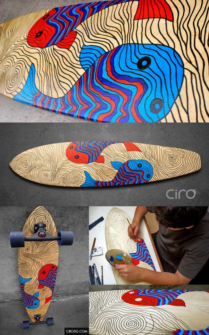 39 the fishes 39 longboard deck design ii by cirodg skate. Black Bedroom Furniture Sets. Home Design Ideas
