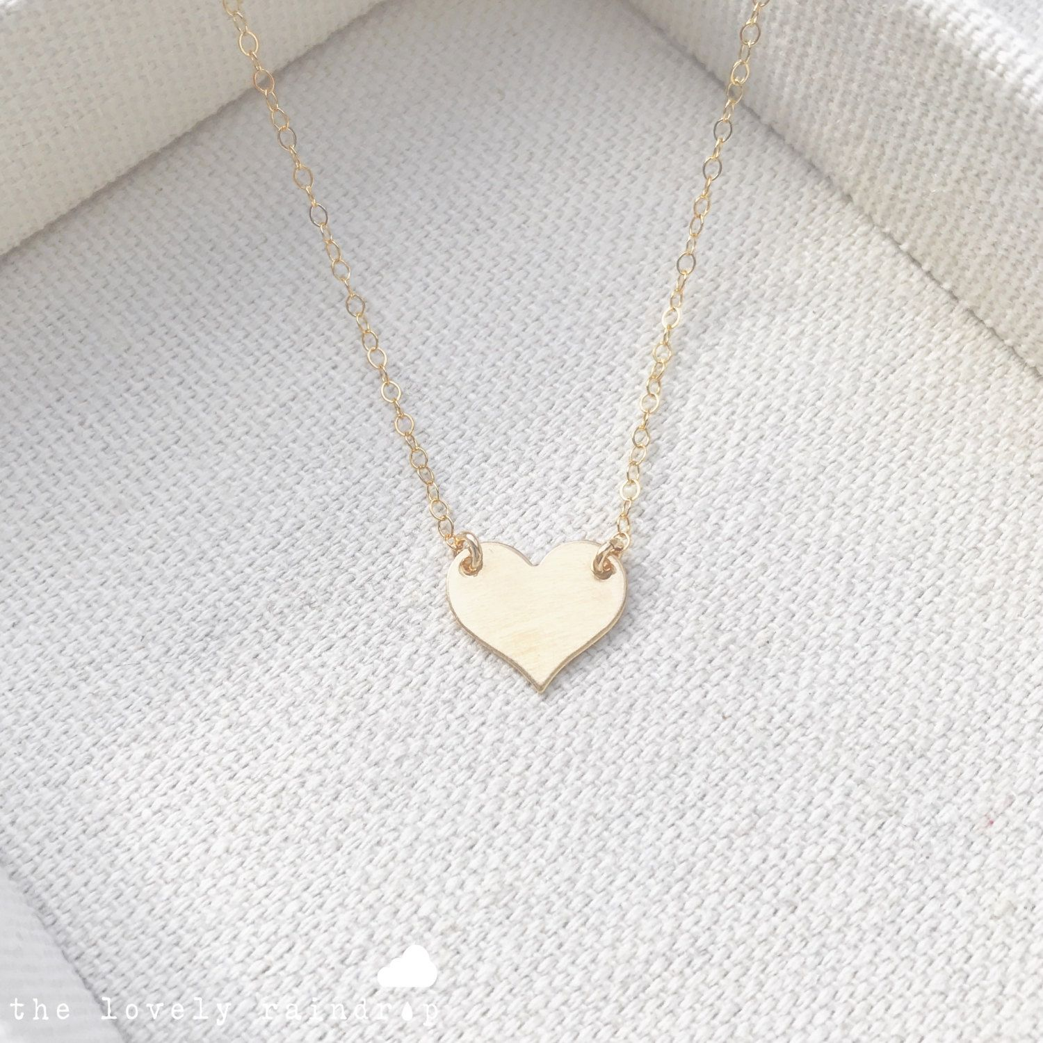 NEW Gold Little Heart Necklace Small Dainty Heart Charm Bridal