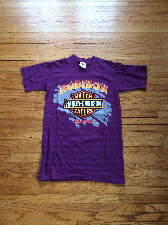 Vintage Harley Davidson Motorcycles Robinson Daytona Beach Slim Fit Purple Motorcycle Biker T Shirt By
