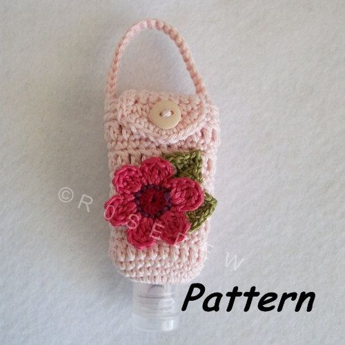 R0sedew On Etsy Floral Hand Sanitizer Cozy Hakeln Muster Muster