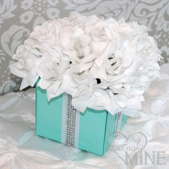 Centerpiece Tiffany Co Inspired Flower Box By Lovinglymine Flower Box Centerpiece Flower Boxes Tiffany Party
