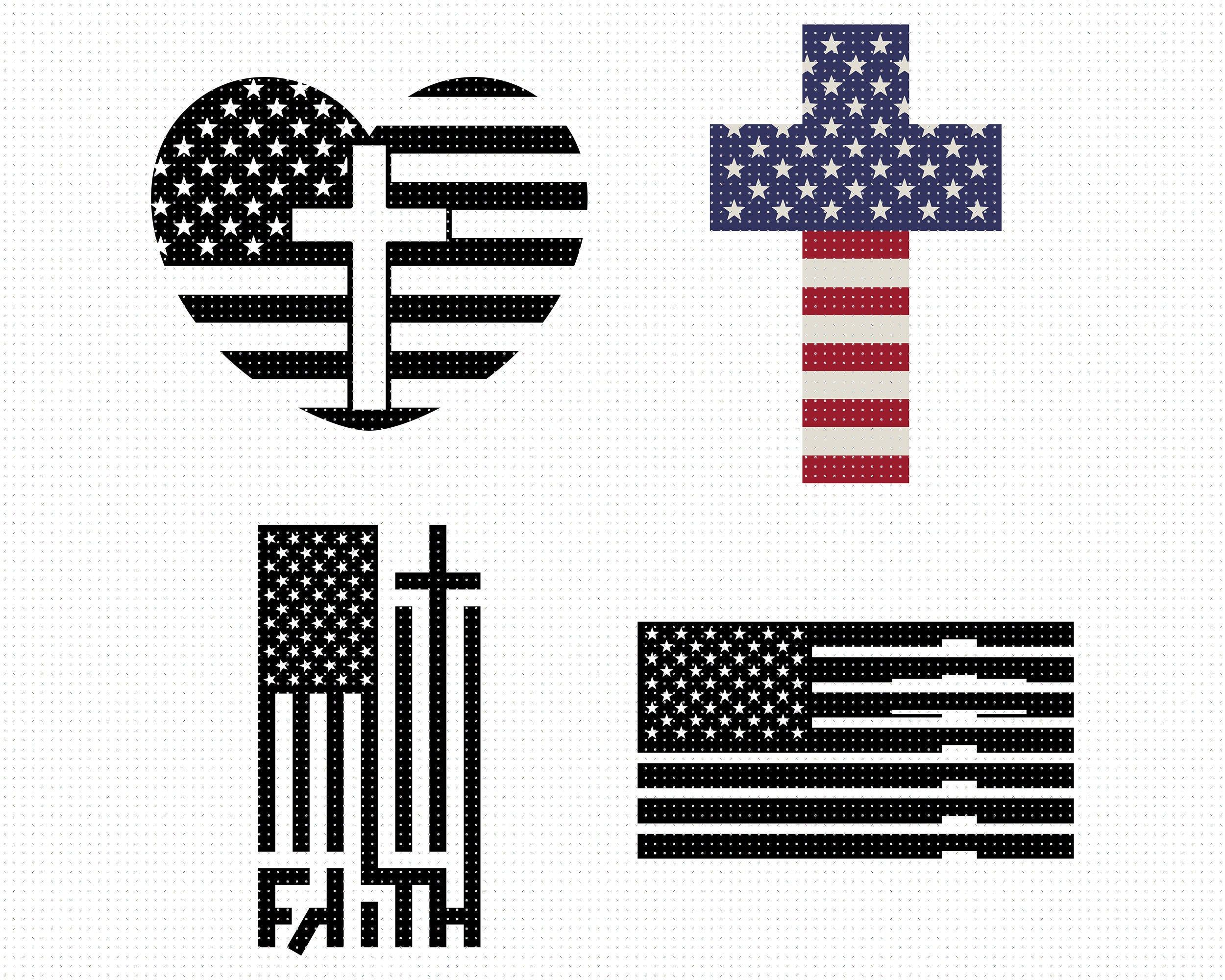 American Flag Cross SVG, American Flag Heart SVG, American